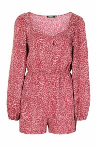 Womens Ditsy Floral Blouson Sleeve Playsuit - red - 16, Red