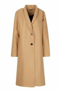 Womens Shawl Collar Button Wool Look Coat - beige - 14, Beige