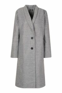 Womens Shawl Collar Button Wool Look Coat - grey - 14, Grey