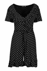 Womens Polka Dot Wrap Ruffle Playsuit - black - 16, Black