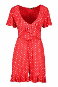 Womens Polka Dot Wrap Ruffle Playsuit - red - 14, Red