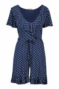 Womens Polka Dot Wrap Ruffle Playsuit - navy - 16, Navy