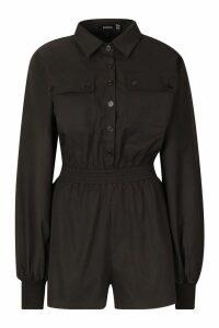 Womens Cotton Twill Utility Playsuit - black - 16, Black