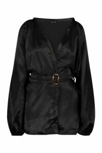 Womens Satin Belted Buckle Detail Kimono - black - 8, Black