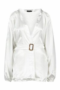 Womens Satin Belted Buckle Detail Kimono - white - 14, White