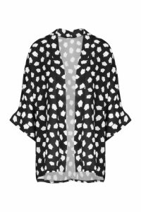 Womens Abstract Spot Kimono - black - S/M, Black