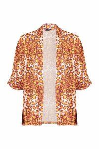 Womens Leopard Print Kimono - beige - M/L, Beige