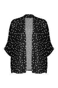 Womens Polka Dot Kimono - black - M/L, Black