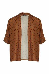 Womens Polka Dot Kimono - orange - M/L, Orange