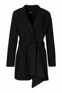 Womens Belted Tailored Playsuit - black - 14, Black