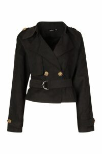 Womens Crop Double Breasted Trench Coat - black - 14, Black
