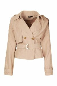 Womens Crop Double Breasted Trench Coat - beige - 14, Beige