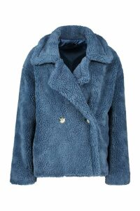 Womens Double Breasted Short Teddy Faux Fur Coat - blue - 14, Blue