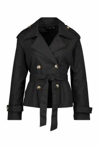 Womens Double Breasted Belted Short Trench - black - 12, Black