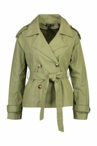 Womens Double Breasted Belted Short Trench - green - 14, Green