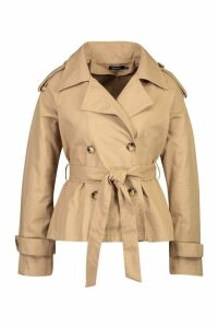 Womens Double Breasted Belted Short Trench - beige - 10, Beige