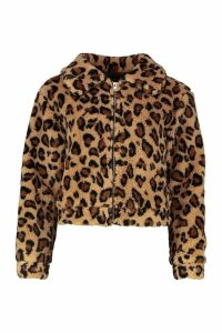 Womens Leopard Faux Fur Crop Jacket - brown - 12, Brown