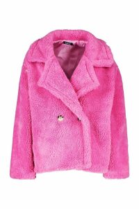 Womens Double Breasted Short Teddy Faux Fur Coat - Pink - 14, Pink
