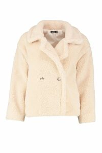 Womens Double Breasted Short Teddy Faux Fur Coat - white - 8, White