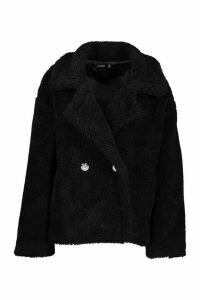 Womens Double Breasted Short Teddy Faux Fur Coat - black - 14, Black