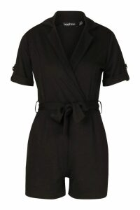 Womens Belted Wrap Over Tailored Playsuit - black - 14, Black