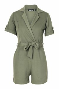 Womens Belted Wrap Over Tailored Playsuit - green - 14, Green