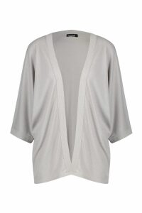 Womens Batwing Rib Kimono - grey - M/L, Grey