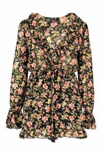 Womens Chiffon Ruffle Floral Playsuit - black - 16, Black