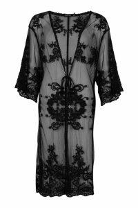 Womens Crochet Longline Kimono - black - M/L, Black