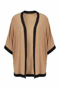 Womens Contrast Trim Kimono - beige - S/M, Beige