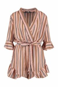 Womens Tall Stripe Wrap Playsuit - Pink - 8, Pink