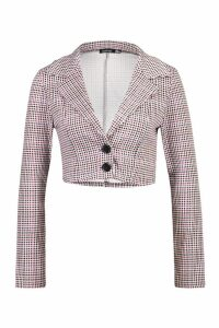 Womens Cropped Check Blazer - red - 14, Red