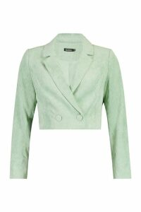Womens Cord Cropped Button Front Blazer - green - M, Green
