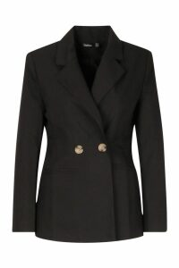 Womens Double Breasted Strong Shoulder Blazer - black - 14, Black