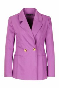 Womens Double Breasted Strong Shoulder Blazer - purple - 14, Purple