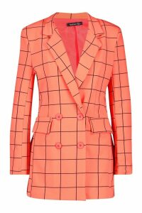 Womens Window Pane Check Double Breasted Blazer - orange - 12, Orange
