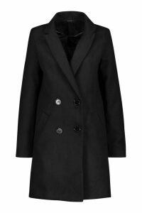 Womens Pocket Detail Tailored Wool Look Coat - black - 12, Black