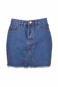 Womens Sports Stripe Micro Mini Denim Skirt - blue - 10, Blue
