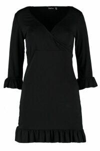 Womens Ruffle Detail Jersey Tea Dress - black - 10, Black