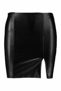 Womens Petite Leather Look Split Mini Skirt - black - 14, Black