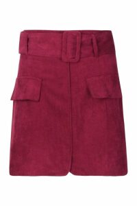 Womens Petite Belted Cord Mini Skirt - red - 14, Red