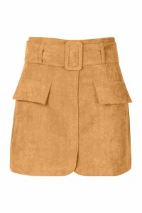 Womens Petite Belted Cord Mini Skirt - brown - 14, Brown