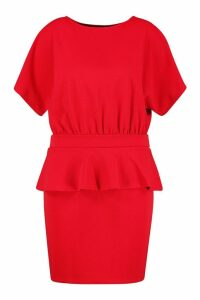 Womens Plus Slash Neck Tie Waist Skater Dress - red - 20, Red