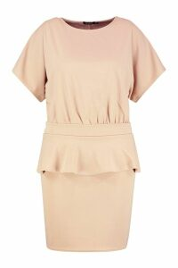 Womens Plus Slash Neck Tie Waist Skater Dress - beige - 20, Beige