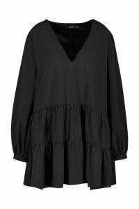 Womens Plus Tiered V Neck Smock Dress - black - 22, Black