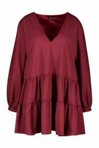 Womens Plus Tiered V Neck Smock Dress - 20, Red