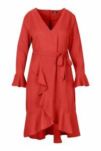 Womens Plus Plunge Neck Frill Detail Midi Dress - pink - 20, Pink