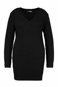 Womens Plus V Neck Chunky Knitted Jumper Dress - black - 20-22, Black