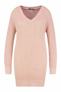 Womens Plus V Neck Chunky Knitted Jumper Dress - pink - 20-22, Pink