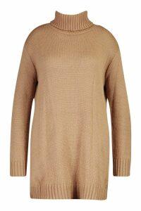 Womens Plus Roll Neck Slouchy Knit Jumper Dress - beige - 24, Beige